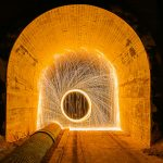 Lichtmalerei im Tunnel